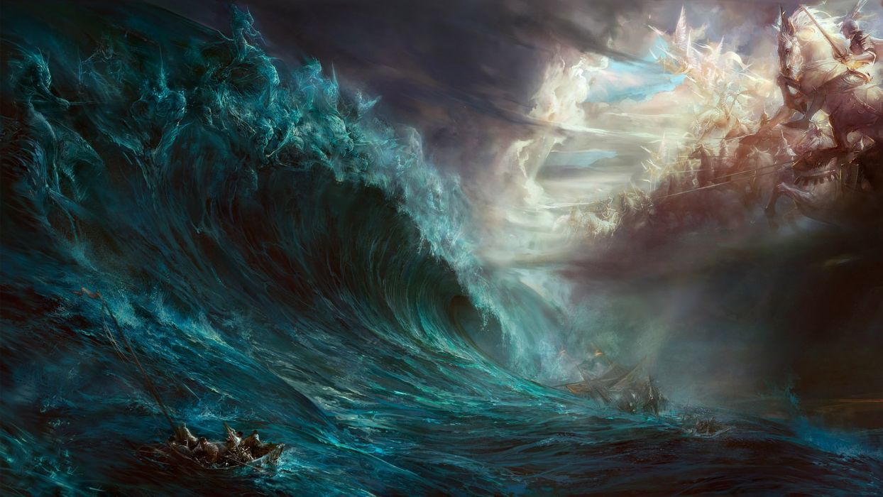 water clouds war back waves ships horses battles artwork vehicles wallpaper