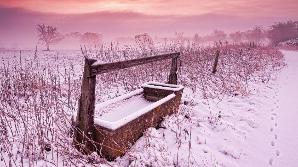 winter snow fields fog wallpaper