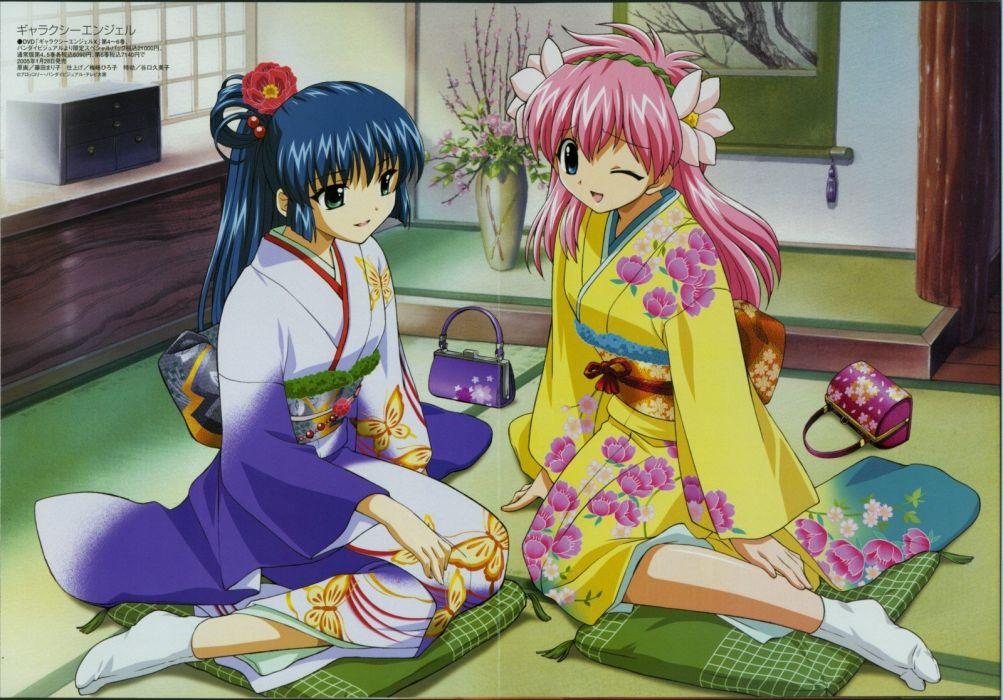 Megami kimono pink hair Galaxy Angel Japanese clothes Milfeulle Sakuraba wallpaper