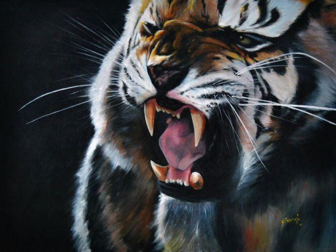 abstract animals tigers digital art artwork wallpaper