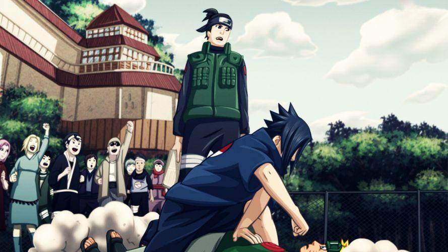 Uchiha Sasuke school Naruto: Shippuden konoha anime Uzumaki Naruto Umino Iruka wallpaper