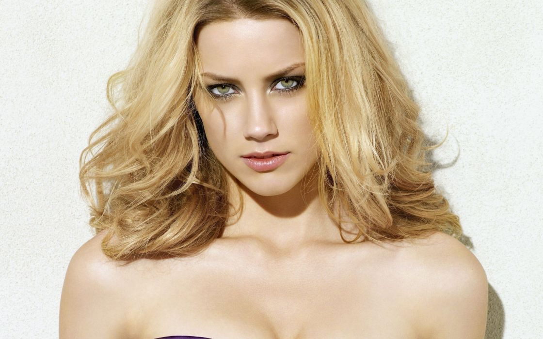 blondes women actress Amber Heard faces wallpaper