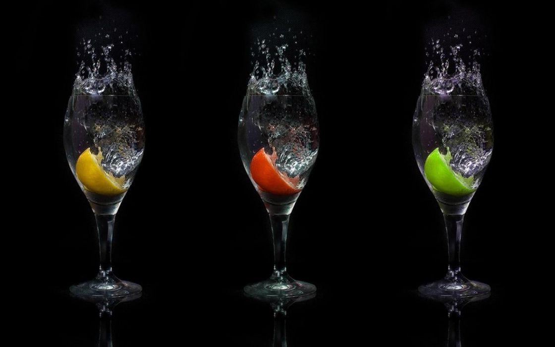 water ice glasses alcohol drinks apples lemons wallpaper