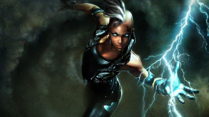 comics X-Men fantasy art digital art Marvel Comics lightning Marvel: Ultimate Alliance Storm (comics character) wallpaper