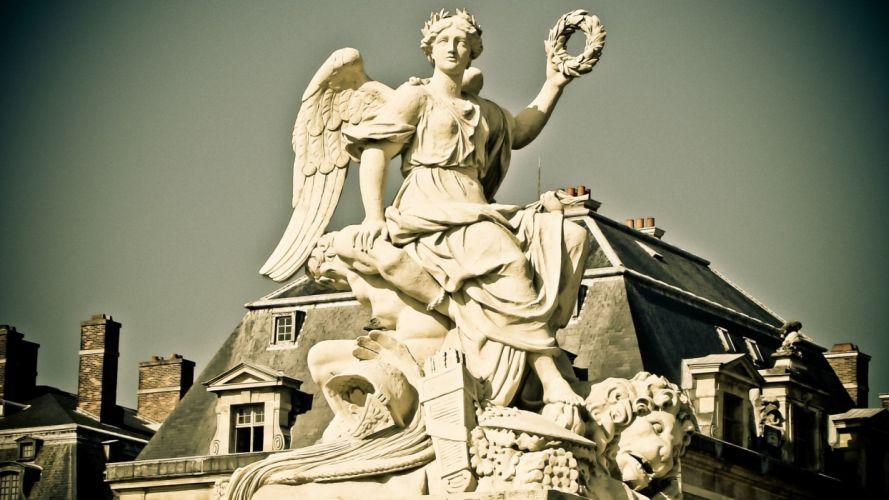 angels Paris France buildings sculptures wallpaper