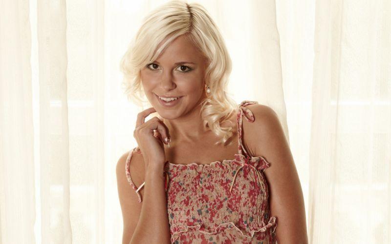 blondes women models smiling Lola Myluv white background summer dress wallpaper