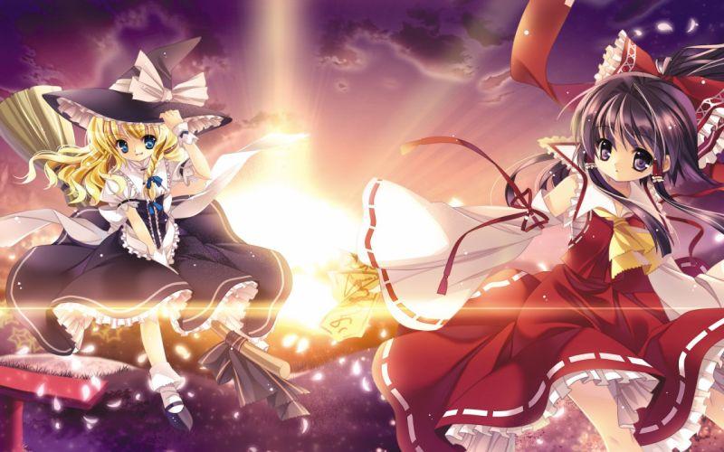 video games Touhou Miko sunlight Kirisame Marisa Hakurei Reimu Capura Lin detached sleeves witches wallpaper