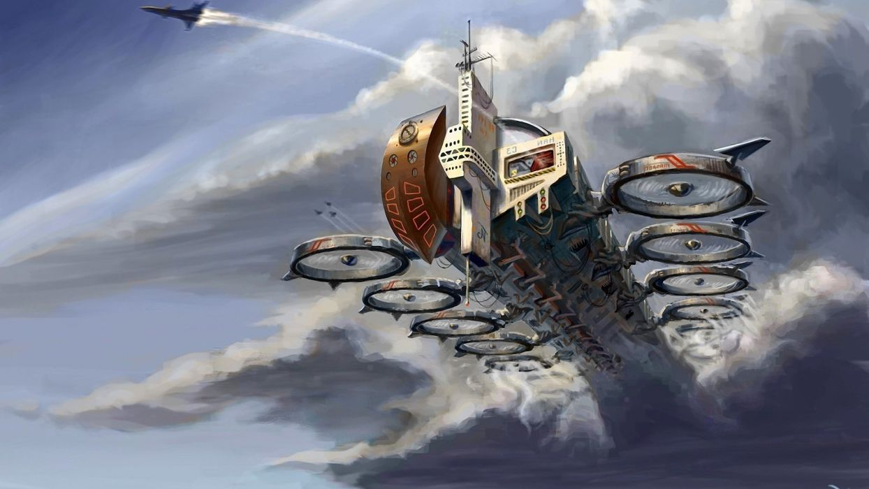 artwork airship wallpaper