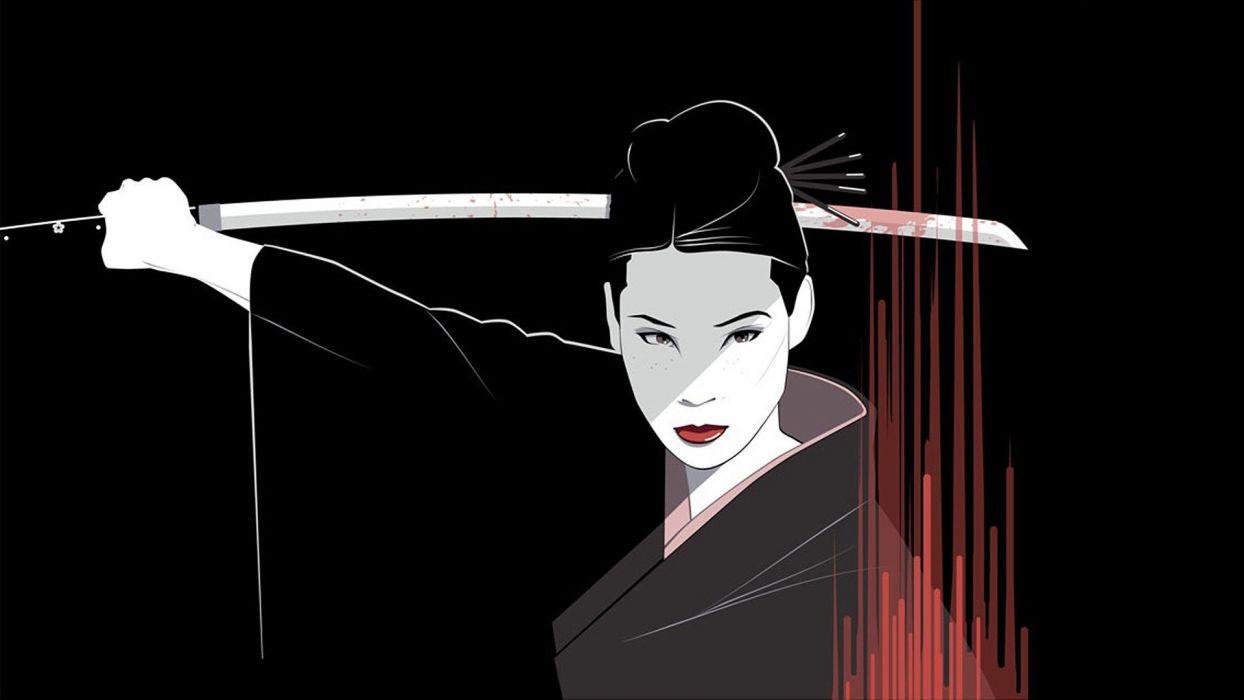movies samurai Kill Bill Lucy Liu Quentin Tarantino Japanese clothes O-Ren Ishii fan art black background Craig Drake wallpaper