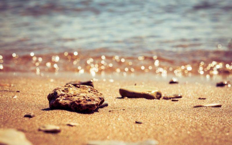 sand stones bokeh depth of field beaches wallpaper