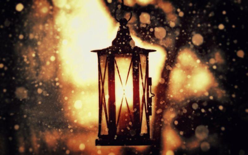 snow lanterns objects wallpaper
