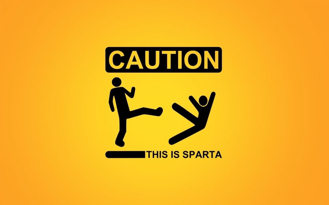 minimalistic Sparta signs funny warning caution stick figures simple yellow background kicking wallpaper