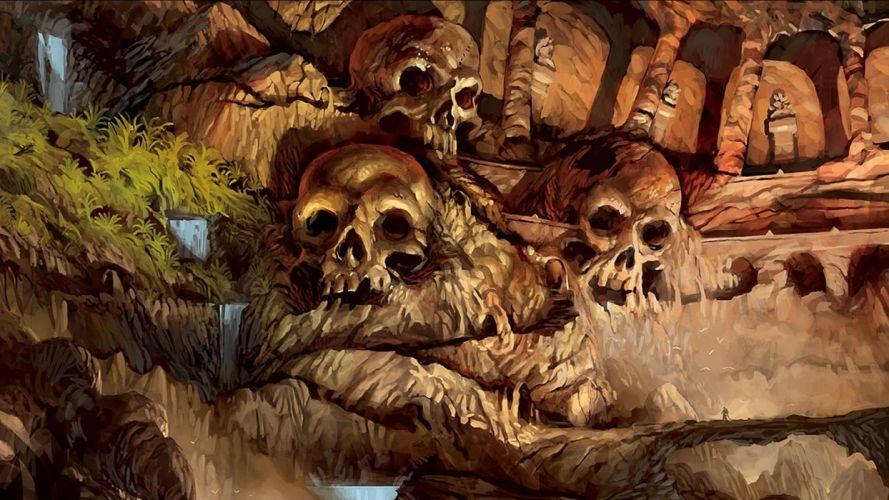 fantasy skulls dark artistic fantasy art digital art wallpaper