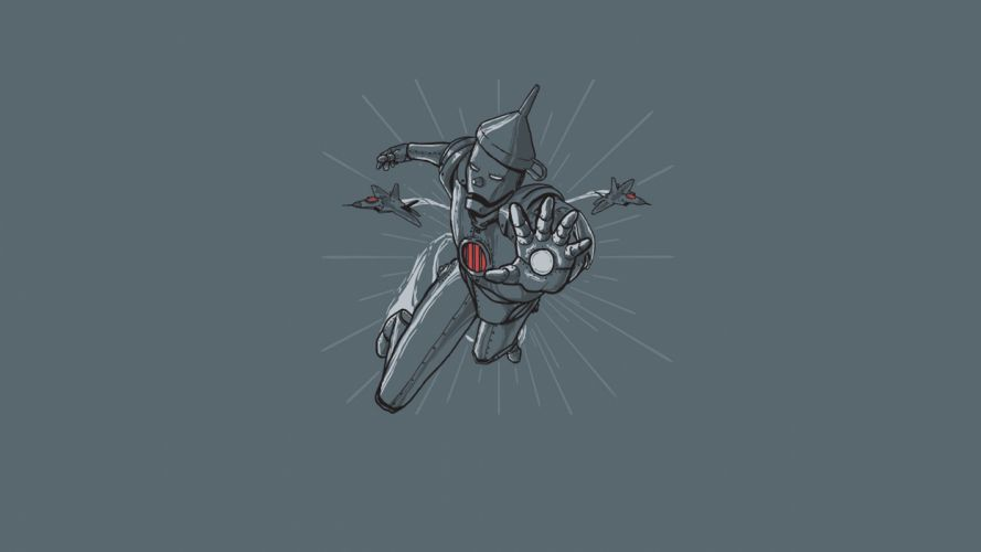 minimalistic Iron Man funny artwork Tin Man wallpaper