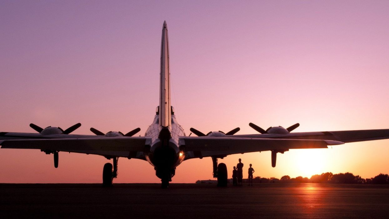 sunset aircraft B-17 Flying Fortress aviation wallpaper