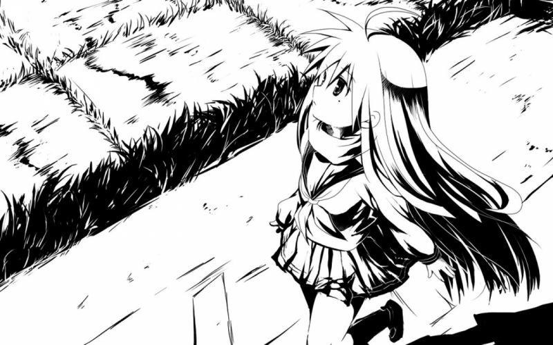 black and white Lucky Star school uniforms monochrome anime contrast Izumi Konata high contrast wallpaper