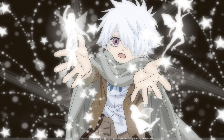 Fairies anime anime boys scarfs white hair purple eyes Tegami Bachi Lag  Seeing wallpaper  61bae7717