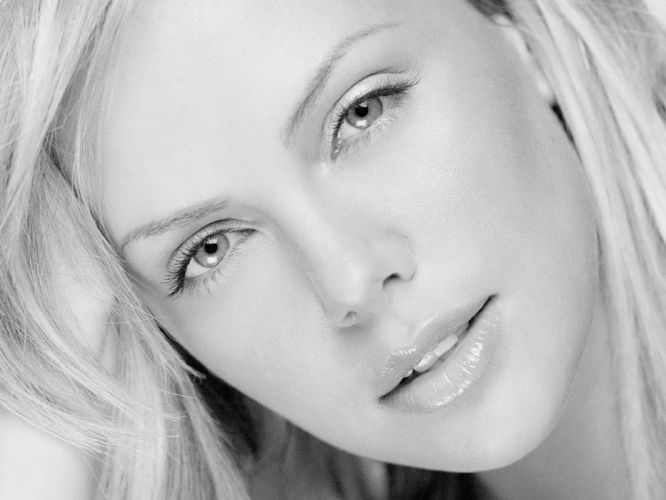 women black and white Charlize Theron faces wallpaper