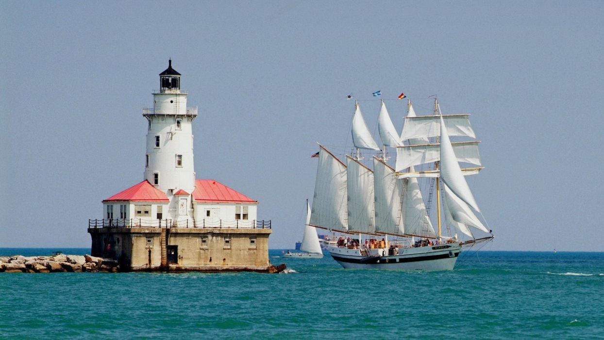 Chicago ships lighthouses past Illinois harbours wallpaper