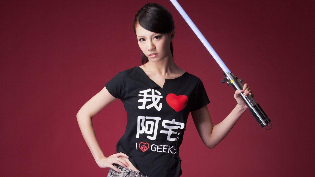 women Asians Taiwanese light sabers models asian girls sunny lin wallpaper