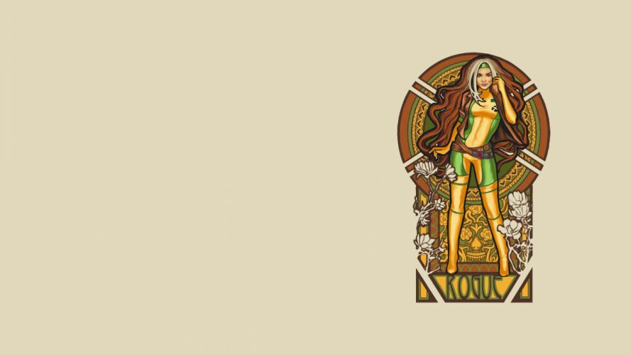 X-Men Rogue artwork Art Nouveau stained glass wallpaper