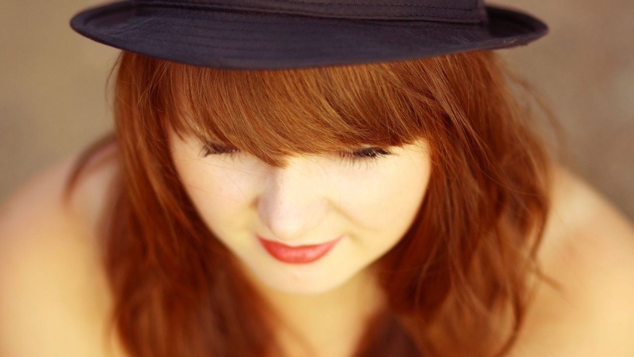 women red redheads hats faces wallpaper