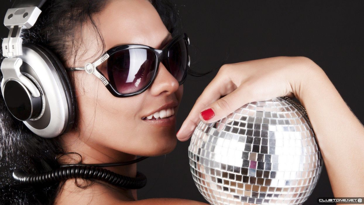 headphones women sunglasses disco ball wallpaper
