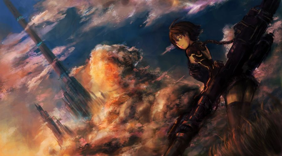 brunettes clouds cityscapes cyborgs weapons fantasy art red eyes wallpaper