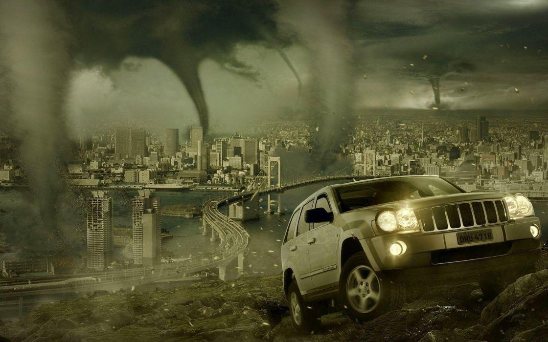 cityscapes cars storm tornadoes fantasy art wallpaper