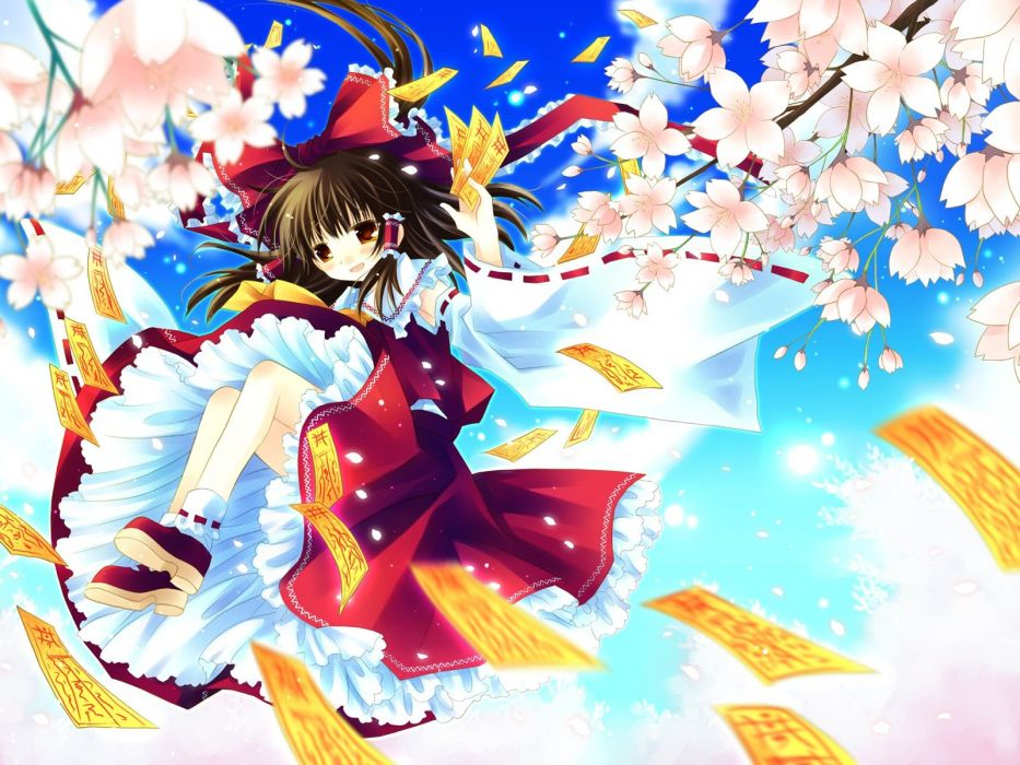 brunettes Touhou cherry blossoms flying spring brown eyes upskirt Miko short hair Hakurei Reimu bows shrine maiden outfit detached sleeves ofuda wallpaper