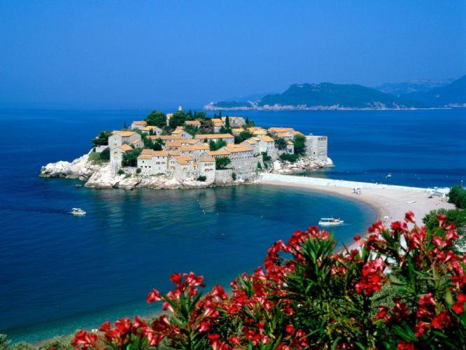 cityscapes towns port Sveti Stefan beaches wallpaper