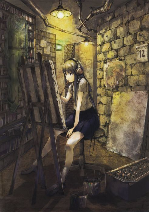headphones skirts Pixiv painters anime girls wallpaper