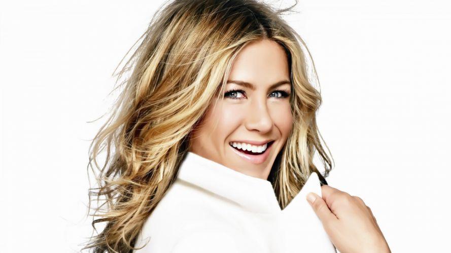 blondes women blue eyes Jennifer Aniston celebrity white background portraits wallpaper