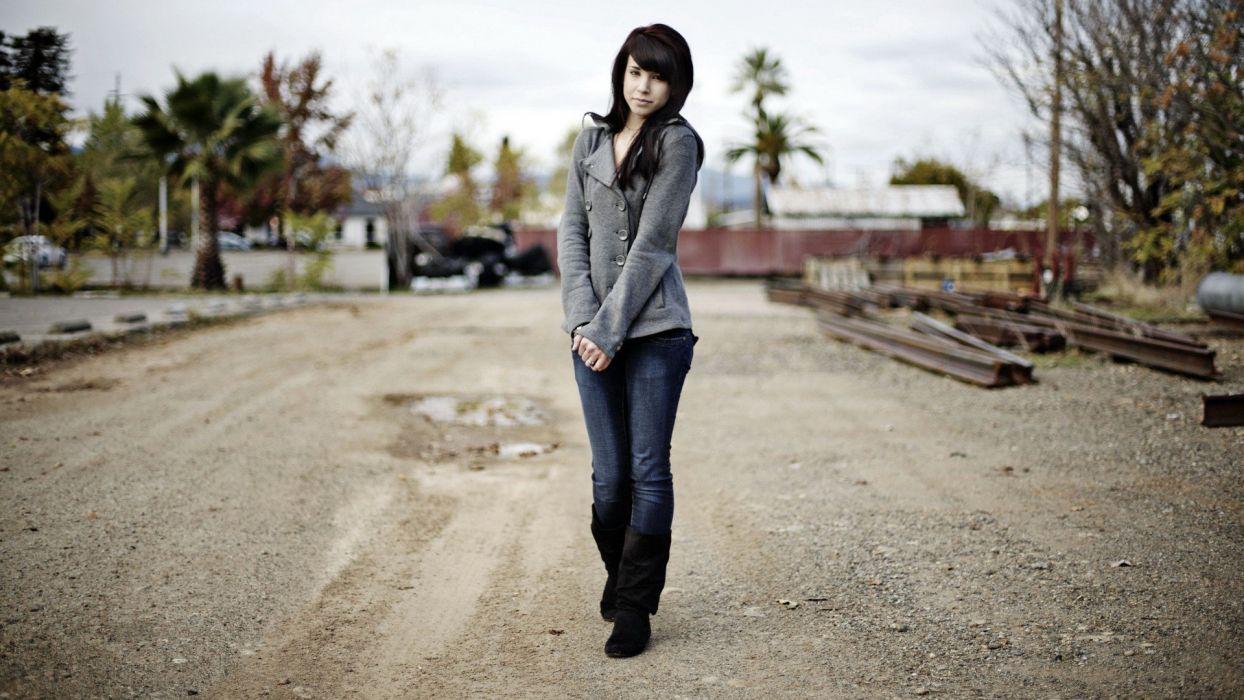 brunettes women jeans models roads black hair Breana Rich wallpaper