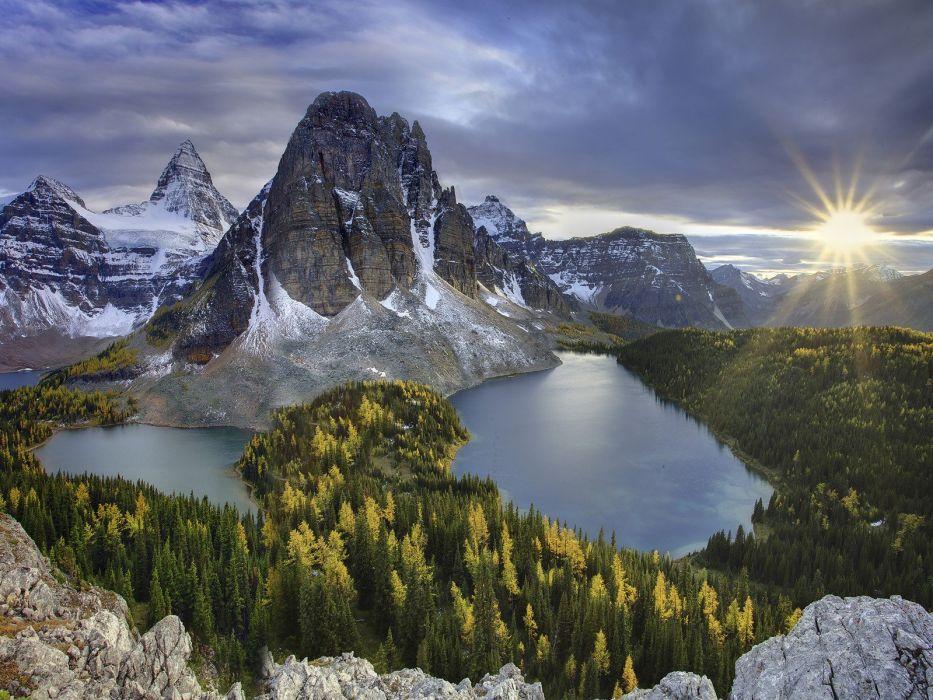 mountains clouds landscapes nature Sun British Columbia Mount wallpaper