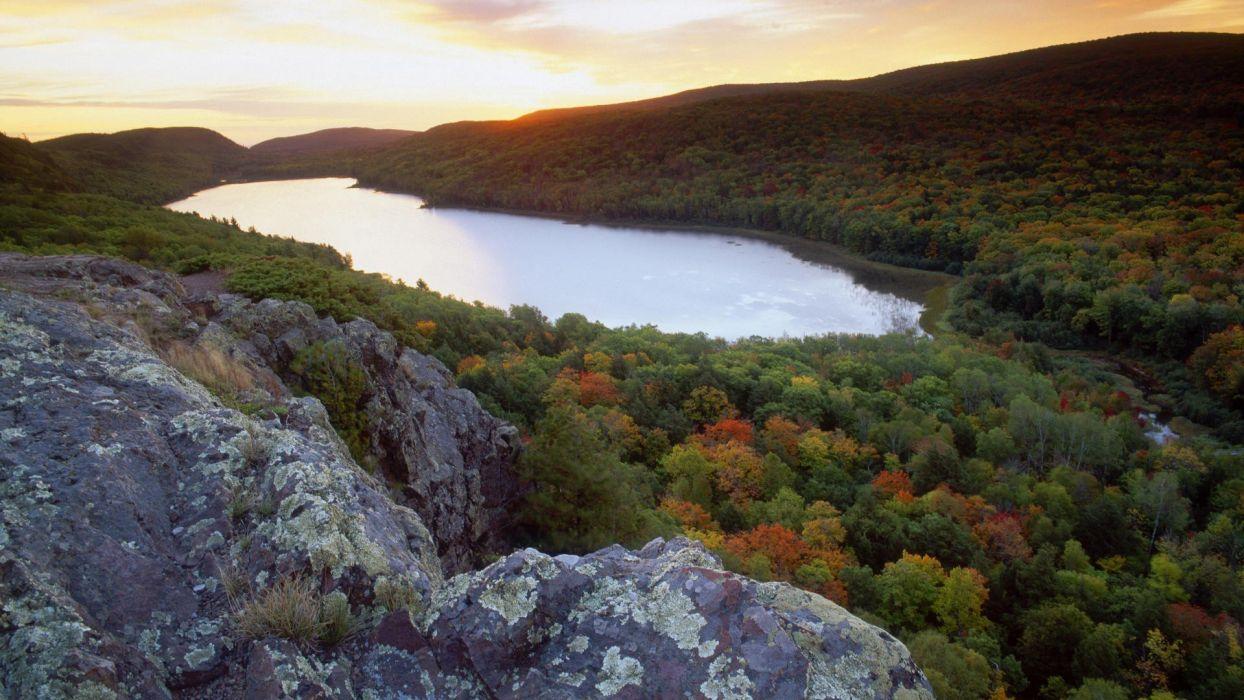 sunset mountains clouds Michigan lakes wallpaper