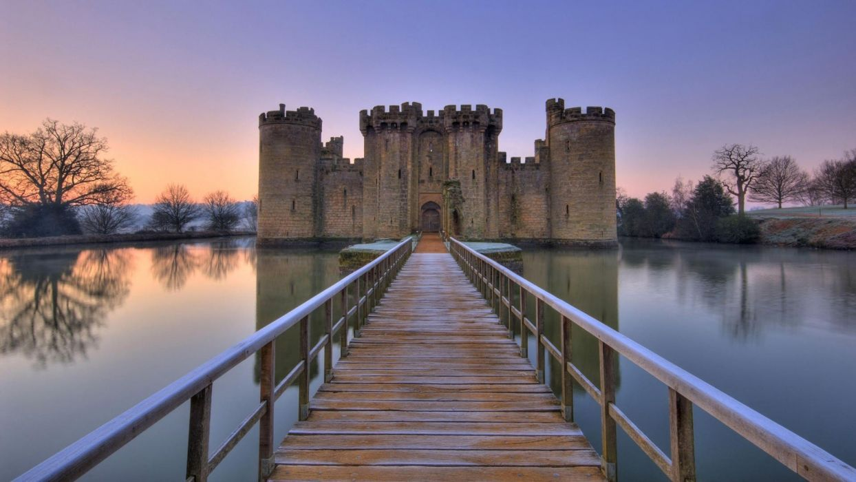 dawn England bridges castle wallpaper