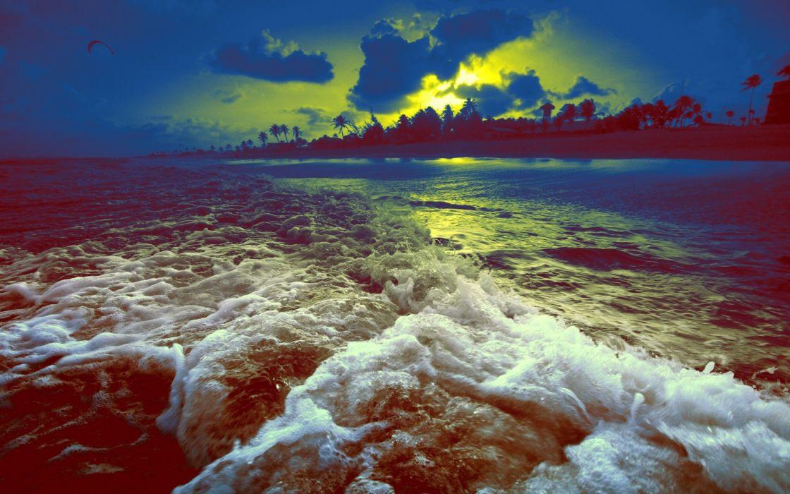 light green clouds Sun Pilot sunlight Parachuting sea wallpaper