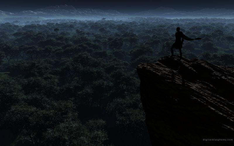 night forests cliffs wallpaper
