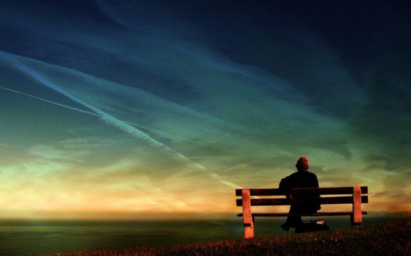men lonely scenic wallpaper