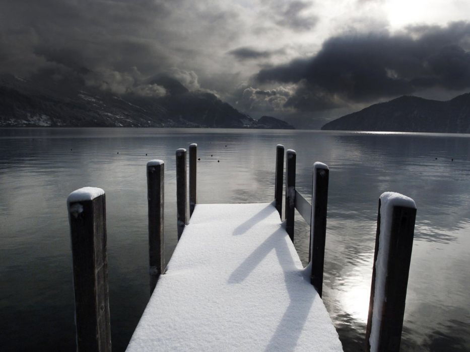 mountains clouds nature snow dock wallpaper