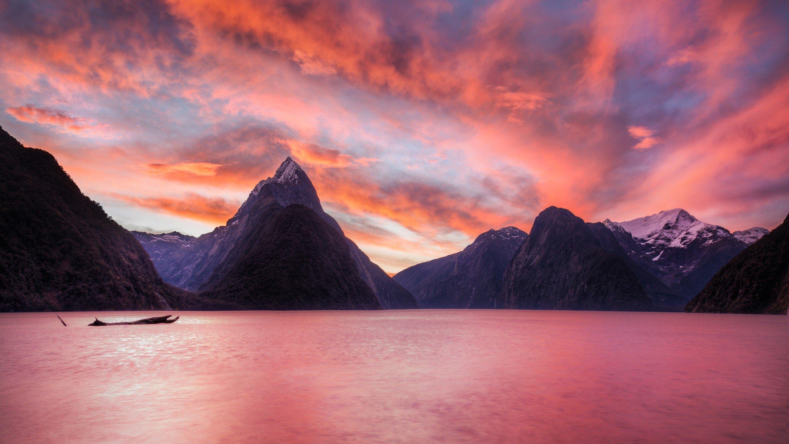 Sunset mountains landscapes nature new zealand lakes for Nz landscape