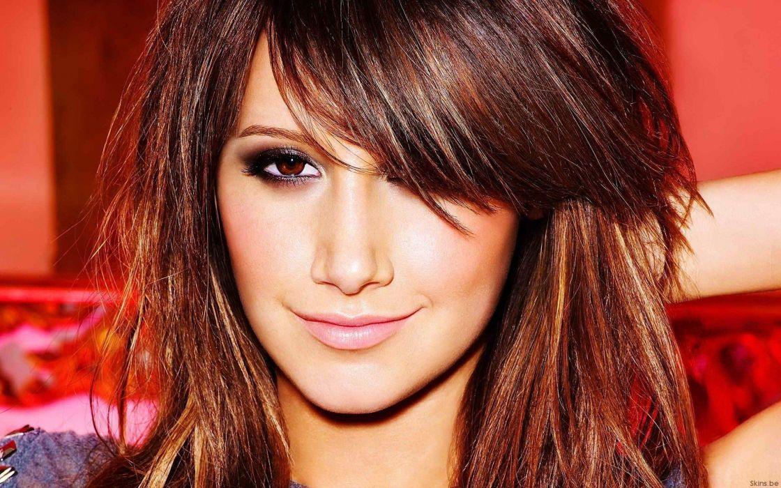 brunettes women eyes lips celebrity Ashley Tisdale smiling faces hair in face wallpaper