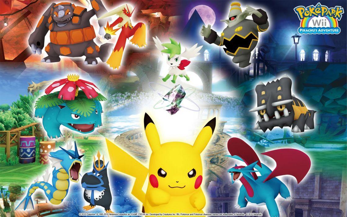 Pokemon Venusaur Pikachu Blaziken Empoleon Gyarados Bastiodon Dusknoir Salamence Shaymin Rhyperior wallpaper