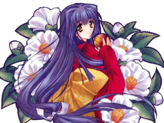 women flowers long hair purple hair Japanese clothes simple background looking back wallpaper