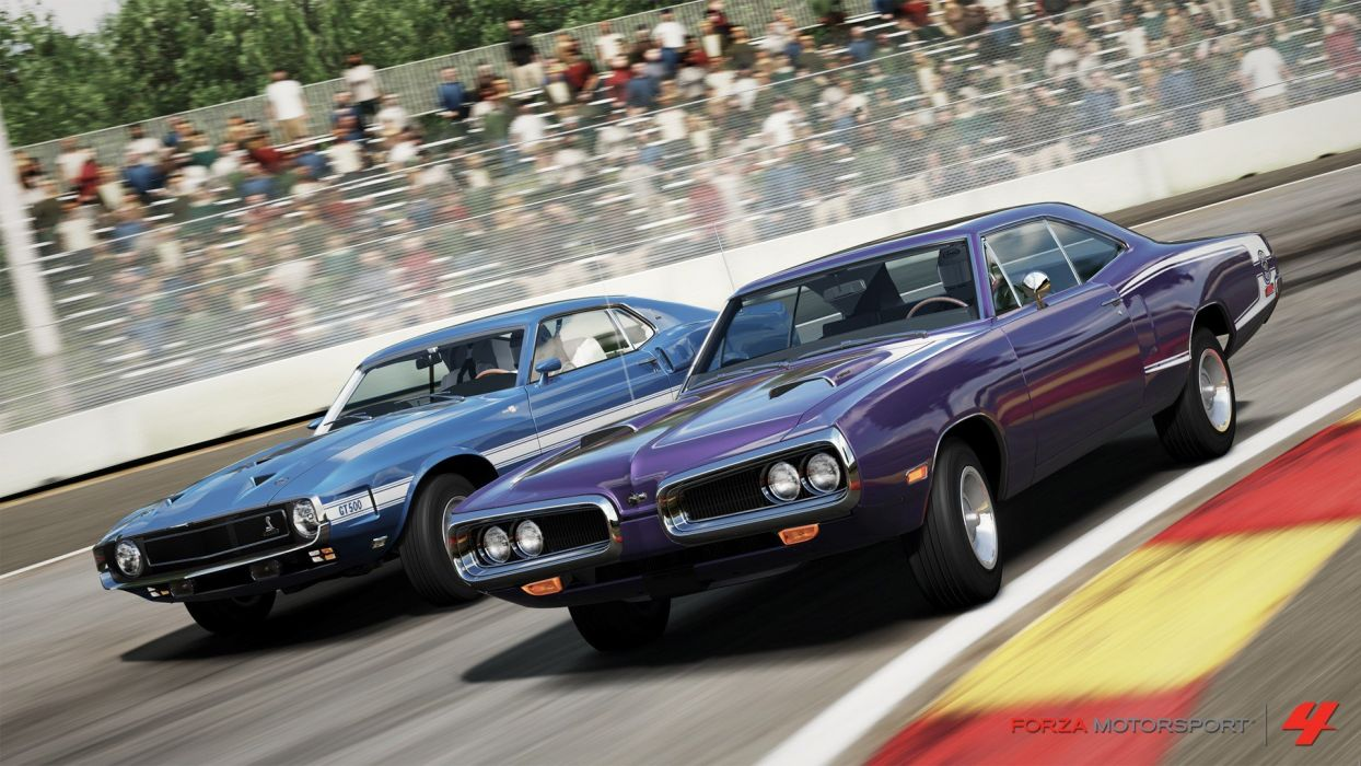 video games cars Xbox 360 Forza Motorsport 4 Hemi Super Bee Ford Mustang Shelby GT500 wallpaper