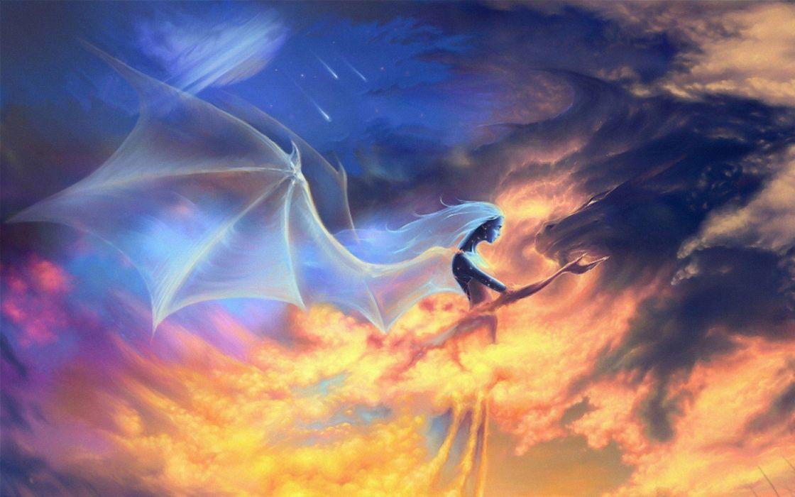 angels dragons skies wallpaper