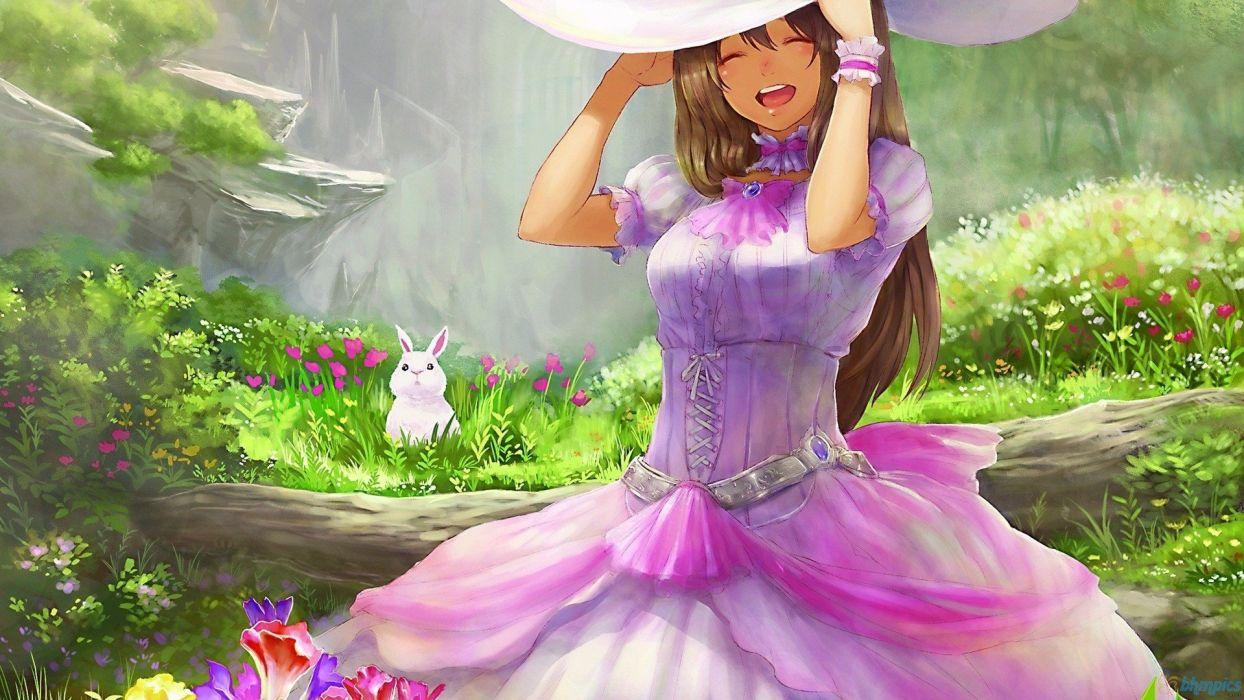 bunnies dress happy grass rabbits anime wallpaper