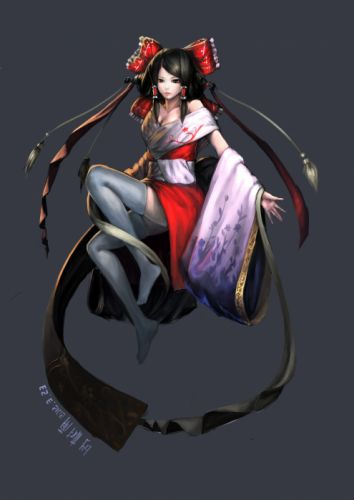 video games Touhou dress stockings cleavage Japanese long hair Miko red eyes thigh highs Hakurei Reimu bows red dress soft shading Japanese clothes simple background anime girls detached sleeves hair ornaments gray background off the shoulder black hair w wallpaper