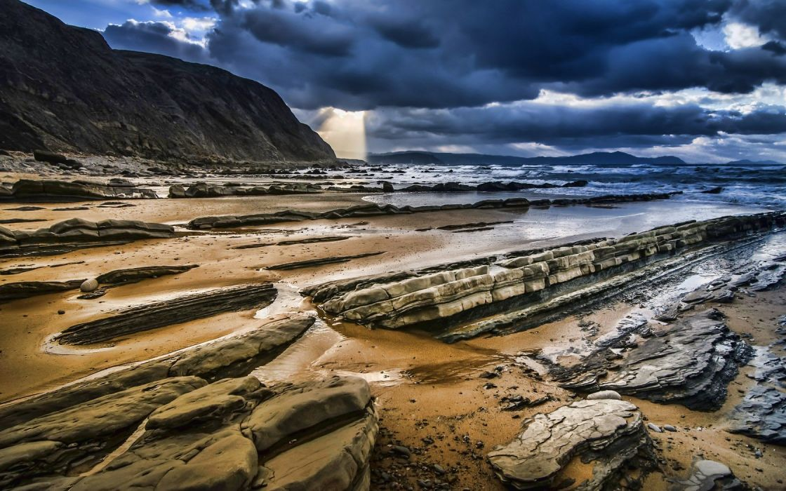 clouds cliffs HDR photography wallpaper